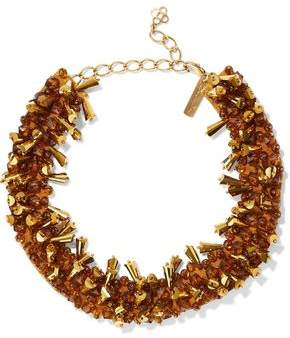 Oscar de la Renta Gold-Tone Bead And Satin Necklace