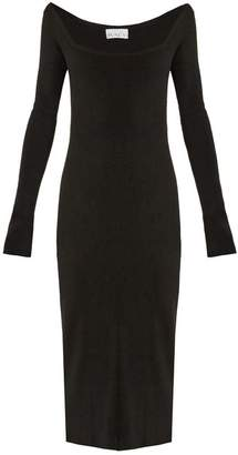 Raey Square Neck Ribbed Cashmere Dress - Womens - Black