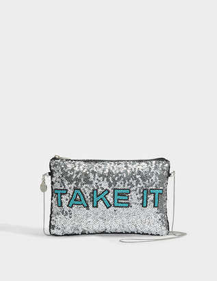 FROM ST XAVIER Leave It Clutch in Silver Sequins, Beads and Polyester