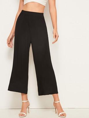 Shein Solid Wide Leg Crop Pants