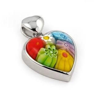 Sterling Silver Multicolor Millefiori Heart Pendant by Alan K