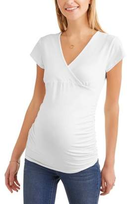 Oh! Mamma Maternity cap sleeves empire waist top-- Available In Plus Sizes