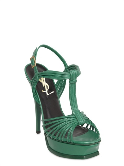 Saint Laurent 130mm Tribute Calfskin T Bar Sandals