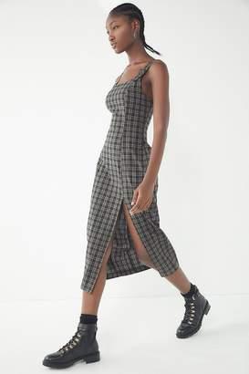 Urban Outfitters Charlotte Plaid Pinafore Midi Dress
