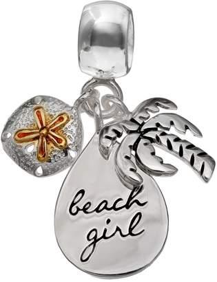 "Individuality Beads Sterling Silver ""Beach Girl"" Teardrop, Palm Tree & Sand Dollar Charm"