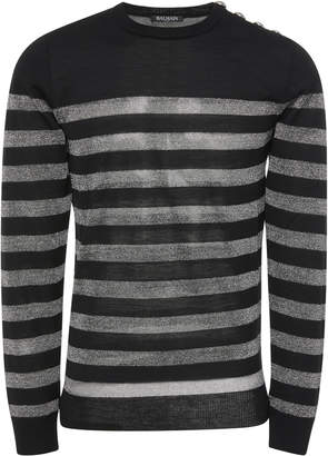 Balmain Striped Wool-Blend Sweater