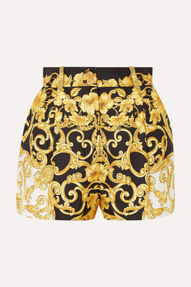 Versace Printed Silk-crepe Shorts - Black