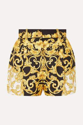 0fc015e30556 Versace Printed Silk-crepe Shorts - Black