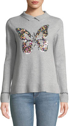 Lisa Todd Sequin Butterfly Long-Sleeve Cashmere Sweater, Petite