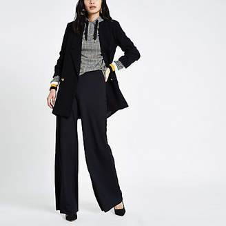 River Island Black wide leg pull on trousers