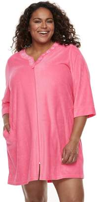 Croft & Barrow Plus Size Velour Terry Zip Front Duster Robe