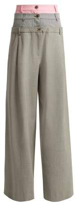 Natasha Zinko Layered Wool Blend Trousers - Womens - Grey Multi
