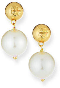Tory Burch Crystal-Pearl Drop Earrings