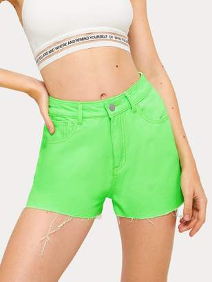 fb59d6c56239 Shein Neon Lime Button And Pocket Detail Denim Shorts