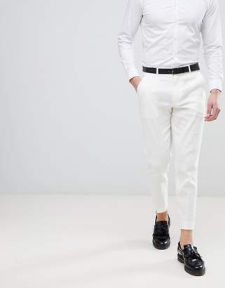 Asos Design Skinny Crop Smart Pants In White Linen
