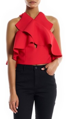 Women's Kendall + Kylie Overlap Ruffle Crop Top $155 thestylecure.com