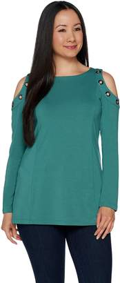 Belle By Kim Gravel Belle by Kim Gravel Cold Shoulder Top with Grommets