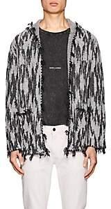 Saint Laurent Men's Ikat-Inspired Linen-Blend Hooded Cardigan-Ivorybone