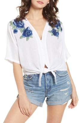 Rails Thea Embroidered Tie Front Crop Top