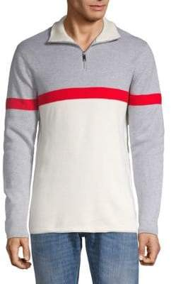 DKNY Ottoman Half-Zip Cotton Top