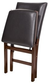 Stakmore Bonded Leather Parson's hardwood Folding Chair - Deep brown/espresso