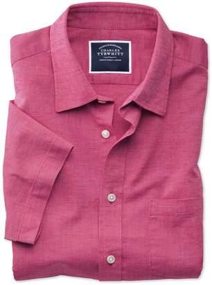 Charles Tyrwhitt Classic Fit Bright Pink Cotton Linen Short Sleeve Cotton Linen Mix Casual Shirt Single Cuff Size Small