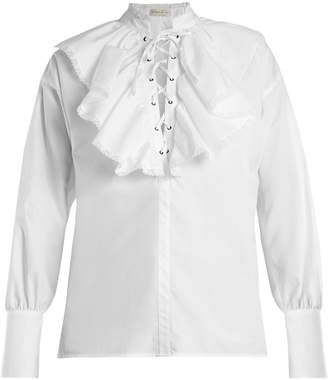 Anet fluted-bib cotton blouse
