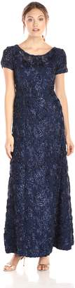 Alex Evenings Women's A-Line Rosette Sleeve Gown with Sequin Detail