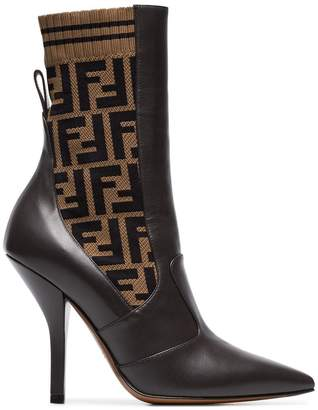 Fendi Rockoko 105 leather and fabric ankle boots