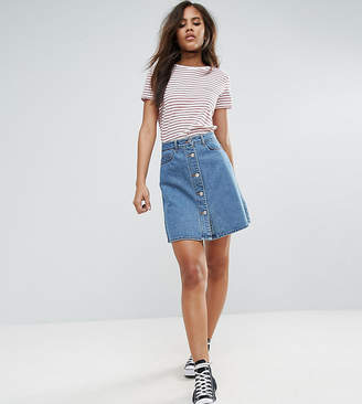 Noisy May Tall Button Front Denim Mini Skirt