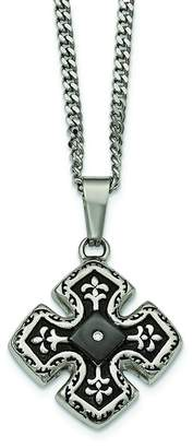 Celtic Chisel Stainless Steel Polished Black IP CZ Cross Necklace 20""