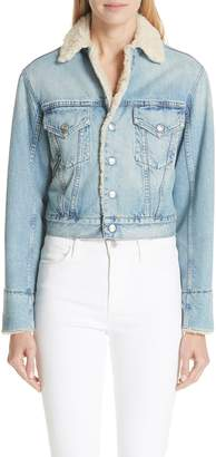 Atelier Jean Denim Jacket with Faux Shearling Trim