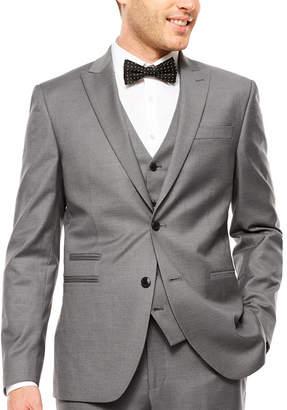 Jf J.Ferrar JF  Stretch Gray Sharkskin Suit Jacket