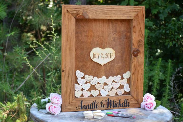 Etsy Wedding Guest Book - Wedding Guest Book Alternative - Alternative Drop Box - Unique Guest Book Heart