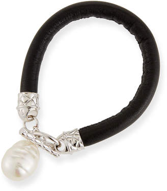 Majorica Leather & Pearl Dangle Bracelet
