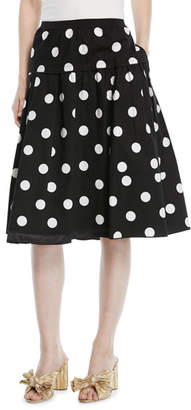 Marc Jacobs Polka-Dot A-Line Cotton Knee-Length Skirt