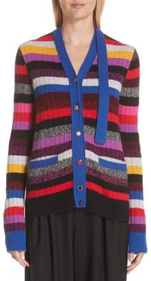 Marc Jacobs Tie Neck Stripe Cashmere Cardigan