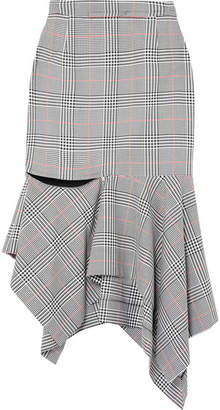 Monse Ruffled Prince Of Wales Checked Woven Skirt - Gray