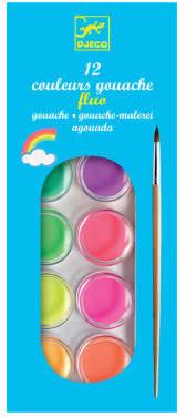 Djeco Fluo Gouache Palette - 12 pigments
