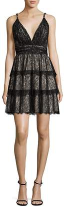 Alice + Olivia Women's Olive Tiered Lace Dress