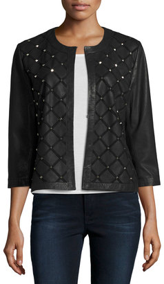 Grayse Classic Diamond-Studded Leather Jacket, Black $695 thestylecure.com