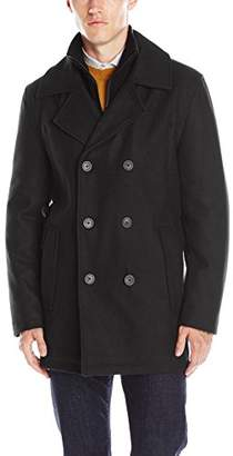 Andrew Marc Men's Cheshire Pressed Wool Peacoat With Inset Knit Bib