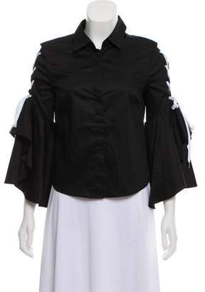 Jonathan Simkhai Lace-Up Bell Sleeve Top w/ Tags