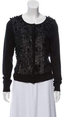 A.L.C. Leather-Accented Cashmere Cardigan