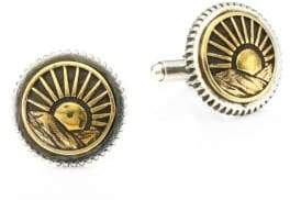 King Baby Studio American Voices Silver and Goldtone Sun Concho Cuff Links
