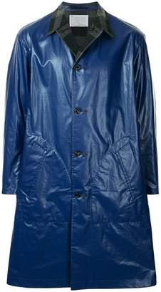 Kolor contrast collar single breasted coat