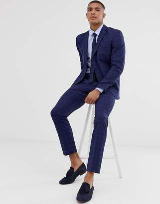 Selected slim suit pant in navy window check