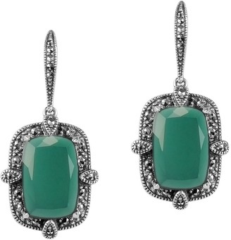 Suspicion Sterling Cushion Green Agate & Marcasite Earrings