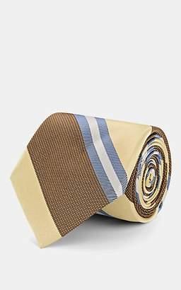 Fairfax Men's Striped Silk Jacquard Necktie - Gold