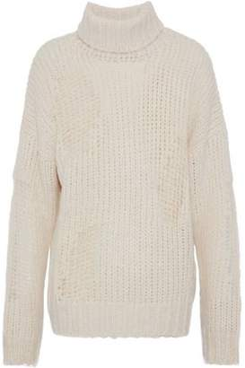 IRO Ribbed And Open-Knit Turtleneck Sweater
